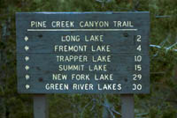Pine Creek Canyon trail sign. Pinedale Online photo.