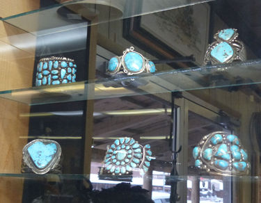 Silver and turquoise jewelry at the Cowboy Shop in Pinedale