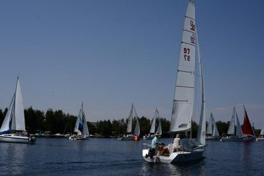 49th Annual Sailing Regatta on Fremont Lake. Photo by Rita Donham, Wyoming Aerophoto.