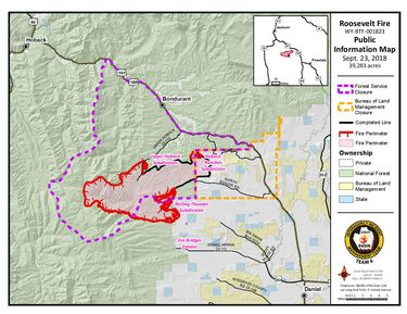 Roosevelt Fire map as of Sept. 23, 2018. Bridger-Teton National Forest.