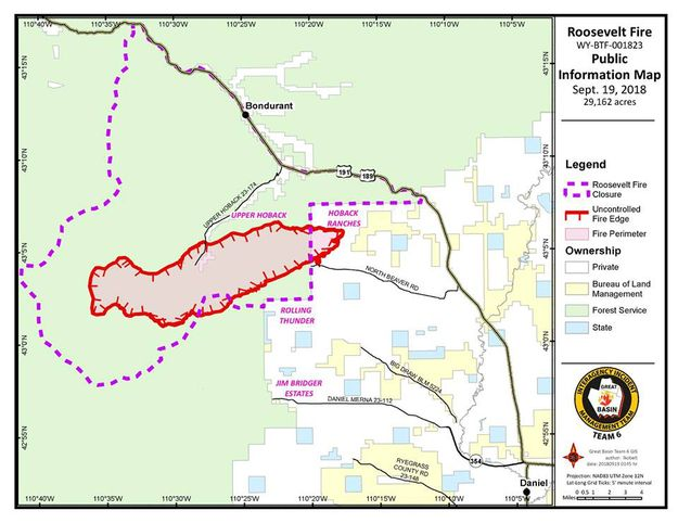 Bondurant Wyoming Map.Roosevelt Fire Burn Map Sept 19 Pinedale Online News Wyoming
