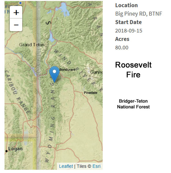 Roosevelt Fire Location Map Pinedale Online News Wyoming