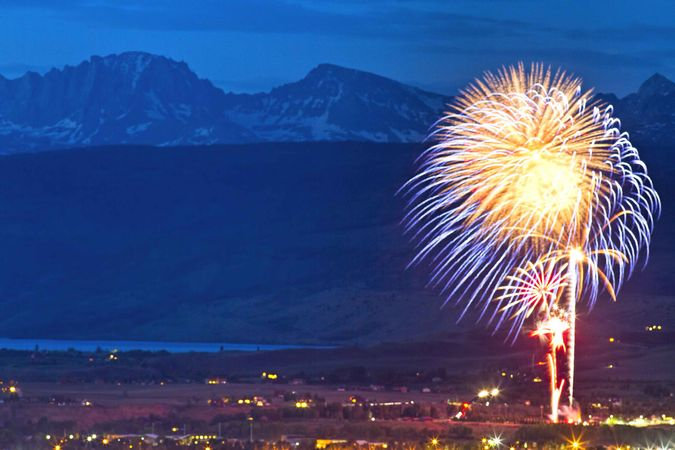 July 4 Fireworks Over Pinedale. Photo by Dave Bell.