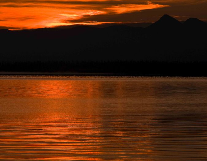 Sunrise Over Yellowstone Lake. Photo by Dave Bell.
