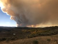 View of Roosevelt Fire from Rim Road & Skyline Drive inside Hoback Ranches on Sunday, Sept. 16. Photo courtesy Bill Winney.