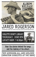 Album Release Concert for Jared Rogerson June 6th in Pinedale