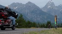 Motorcycles pass the roadside noise meter on the Teton Park Road in Grand Teton National Park. NPS photo.