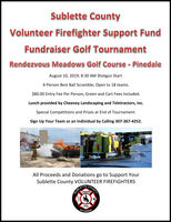 Volunteer Firefighter Support Fund Fundraiser Golf Tournament on Saturday, August 10th
