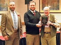 Monte Skinner (right) being presented the Archi Lauer Award by Sublette County Weed and Pest District.  Supervisor Andy Currah (center) and Wyoming Weed and Pest Council  President Adrian Hunolt (left). Photo courtesy Sublette County Weed and Pest.