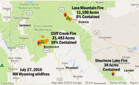Wildfires burning in NW Wyoming as of Wednesday morning, July 27. There are also fires burning in Idaho that can be contributing smoke to the air quality of our area.