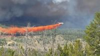 Lava Mountain Fire tanker drop, July 27, 2018. Photo courtesy Shoshone National Forest.