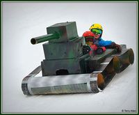 Tank and Crew in the Cardboard Classic at White Pine ski area. Photo by Terry Allen.