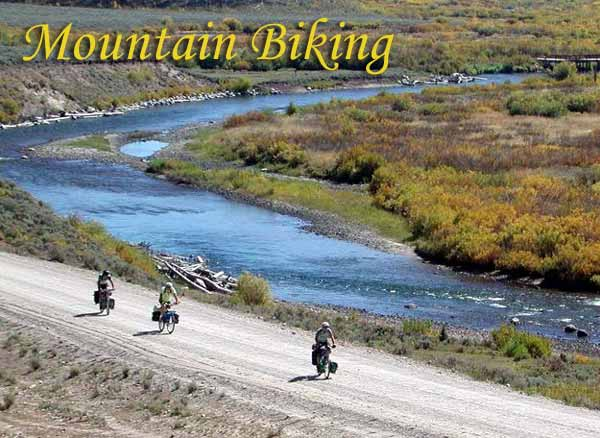 Mountain biking along the Green River, north of Pinedale. Pinedale Online photo
