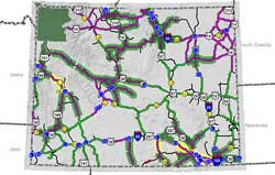 Wyoming Road Report Map Road Conditions in Wyoming Wyoming Road Report Map